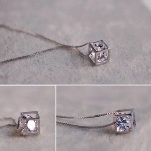 NEW 925 Sterling Silver Caged Diamond Necklace